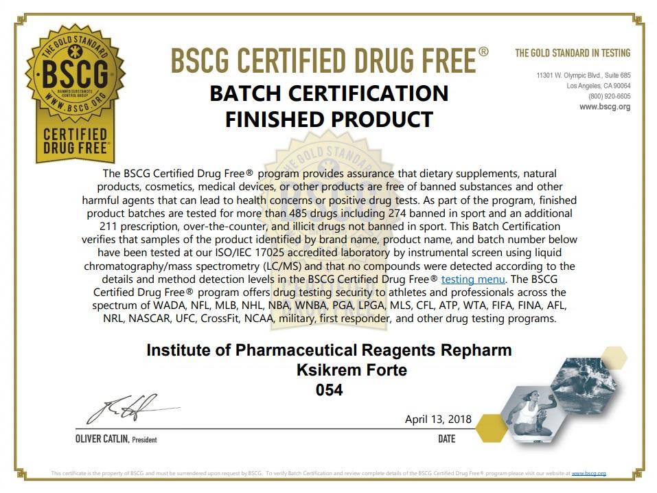 Сертификат BSCG для крема спортивной серии Ксикрем Форте