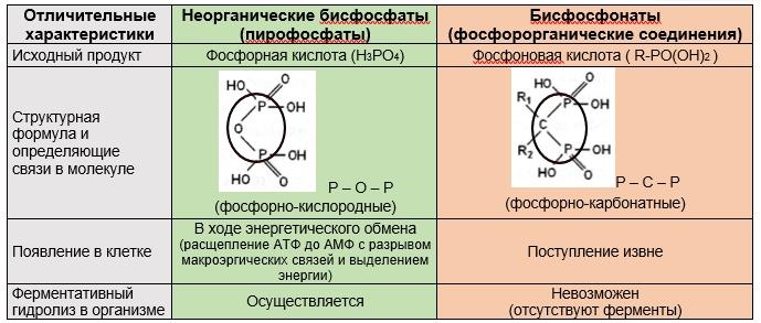 отличия бисфосфонатов